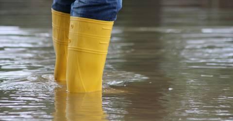 Met regenlaarzen in overstroming staan